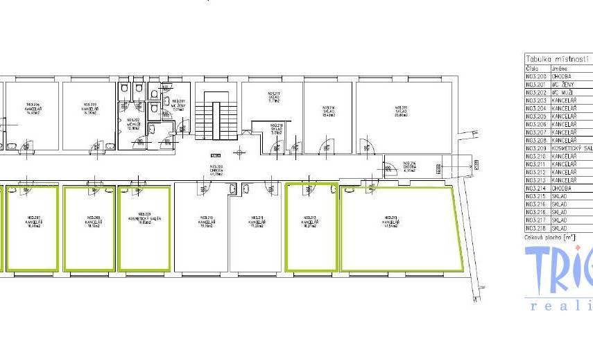 Náchod  - pronájem kanceláří  5 x19  m², 1x 42 m² a soubor 120 m²