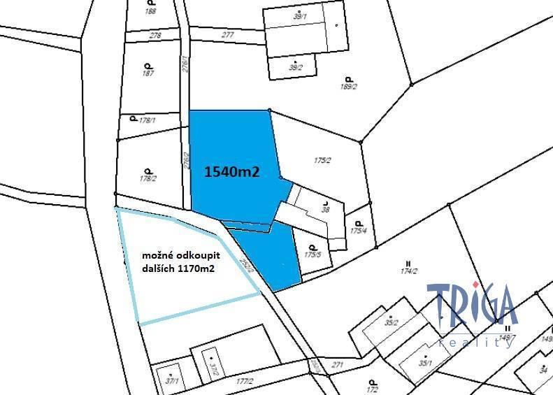 Brzice - Proruby - stavební pozemek 1540 m²